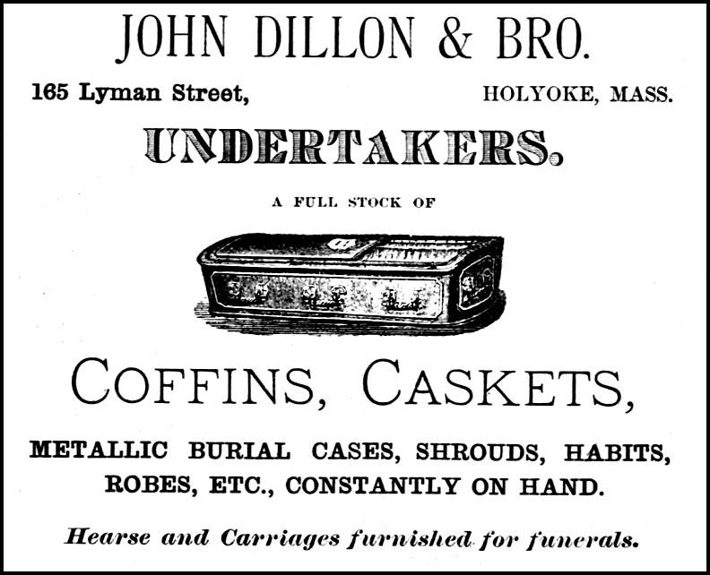 1882  Ad, John Dillon & Sons, Undertaker