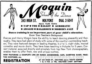 Moquin School of Dance 343 High Street, Holyoke, Mass., above Youth Center 1953 September 12