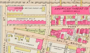 Location of Germania Park and Germania Tenements Pink Colored Buildings Below  Germania Mills Lettering 1911